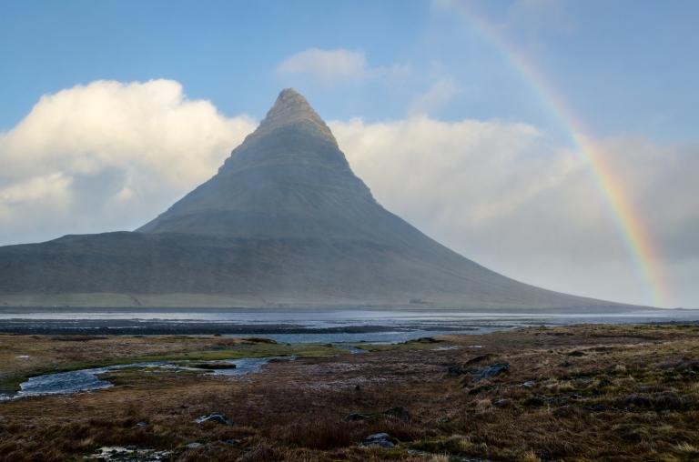 Kirkjufell mountain rainbow